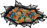 Ripped Torn Carbon Fibre Fiber Design With Tattoo Style Sugar Skull & Rose Pattern Motif External Vinyl Car Sticker 150x90mm